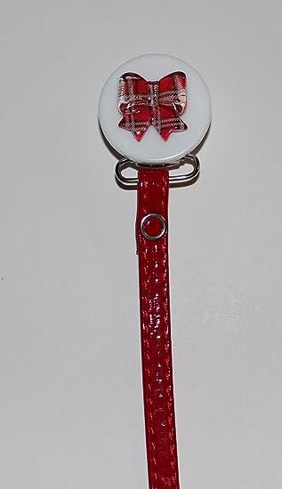 Crystal Dream lazo rojo Clip para chupete con correa de cuero de ...
