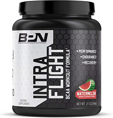 Bare Performance Nutrition, Intra-Flight, Branch Chain Amino Acids, Ultimate Endurance Supplement, Increase Endurance and Stamina, 2:1:1 BCAA + Recovery (Watermelon)