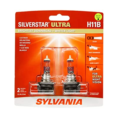SYLVANIA - H11B SilverStar Ultra - High Performance Halogen Headlight Bulb, High Beam, Low Beam and Fog Replacement Bulb, Brightest Downroad with Whiter Light, Tri-Band Technology (Contains 2 Bulbs): Automotive
