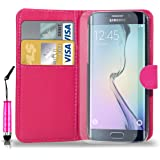 Samsung Galaxy S6 Edge Leather Wallet Flip Case Cover Pouch & Mini Touch Stylus Pen + Free Screen Guard & Cleaning Cloth- HOT PINK