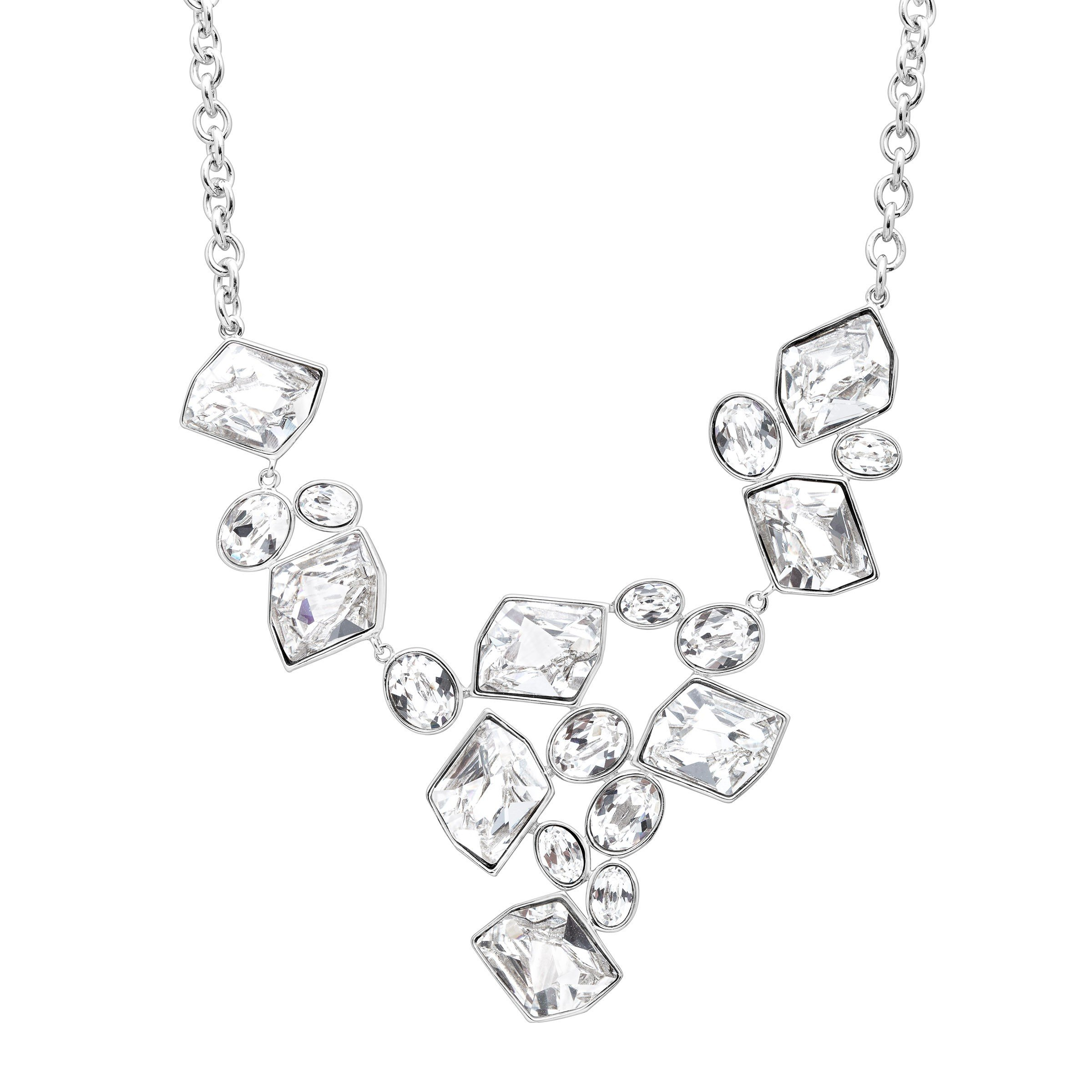Crystaluxe V-Shape Necklace with Swarovski Crystals in Sterling Silver