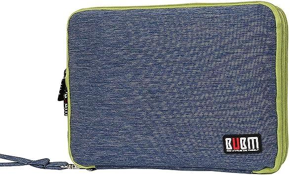 BUBM Organizador de Accesorios Eléctrica Estuche para Guardar Cables Memorias USB Bolsa con Cremallera para iPad Bolso de Doble Capas, Azul y Verde: Amazon.es: Electrónica