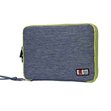 BUBM Organizador de Accesorios Eléctrica Estuche para Guardar Cables Memorias USB Bolsa con Cremallera para iPad Bolso de Doble Capas, Azul y Verde