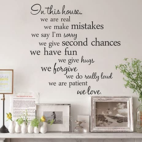 Wall Art   60x56cm In This Hoe English Letter Proverbs Wall Stickers Home  Decoration   In