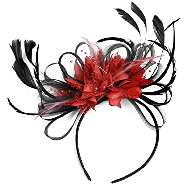 Black and Red Net Hoop Feather Hair Fascinator Headband Wedding ... fec660234f4