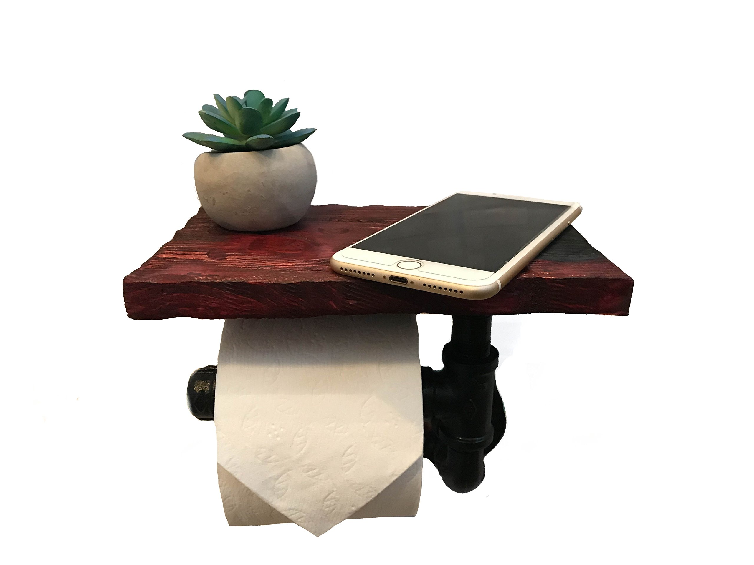 Toilet Paper Holder with Cell Phone Shelf - Toilet Paper Dispenser with 5 Color Options (Cherry Walnut)