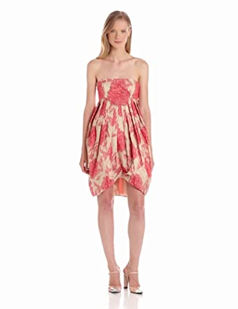 Anna Sui Women's Peony Jacquard Strapless Dress, Poppy Multi, 0