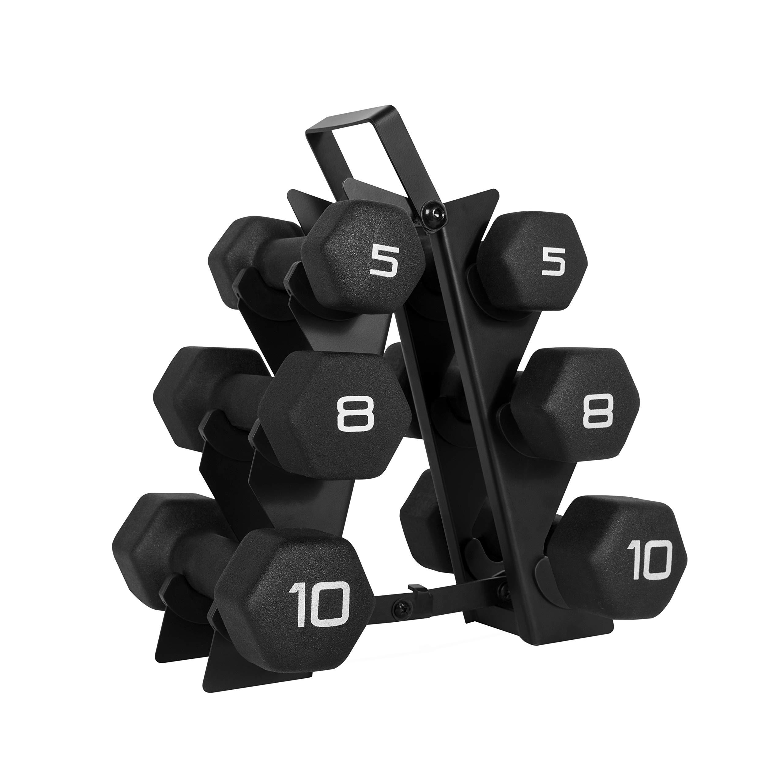 WF Athletic Supply Dumbbell Set with Storage Rack (46lb Black Neoprene Dumbbell Set)