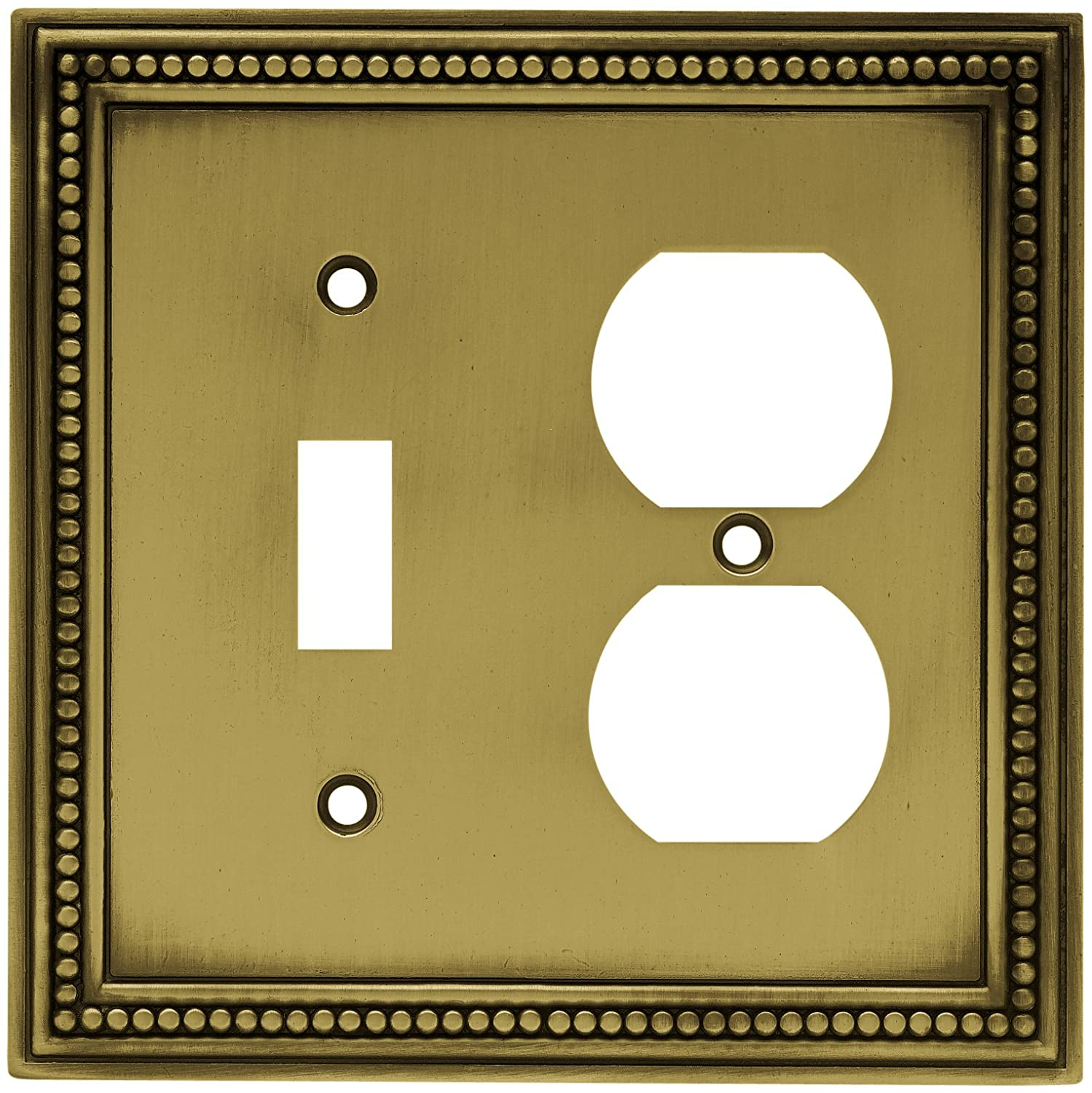 Brainerd 64766 Beaded Single Toggle Switch/Duplex Outlet Wall Plate ...