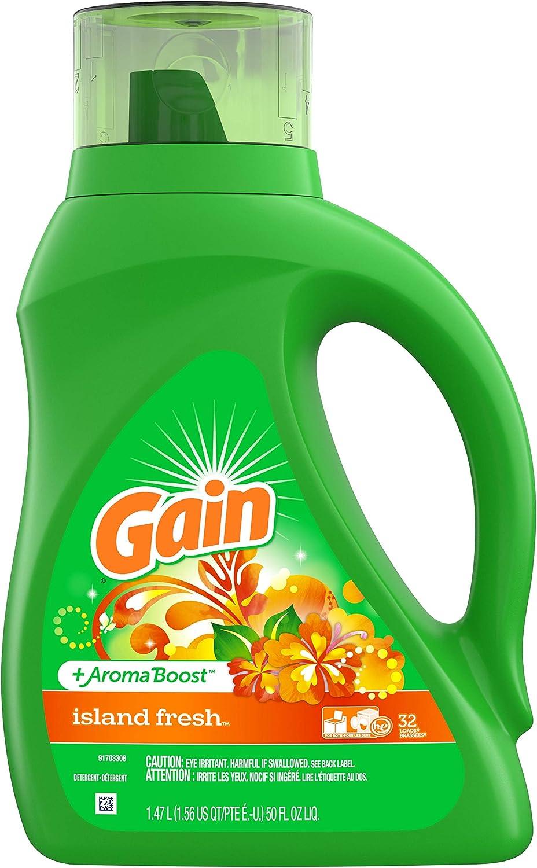 Gain Liquid Detergent with Freshlock, Island Fresh Scent, 32 Loads, 50-Ounce, Green