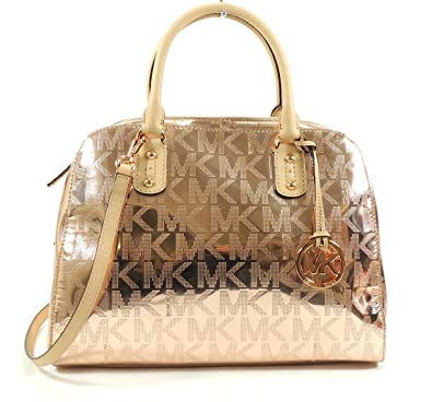 6338b1a6d3fb Michael Kors Large Signature Satchel Mirror Metallic Rose Gold  Handbags   Amazon.com