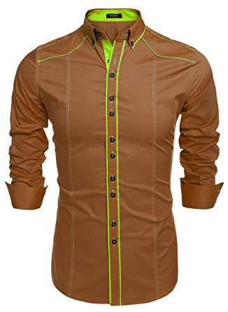 Coofandy Men's Button Down Dress Shirts Casual Slim Fit Shirts at ...