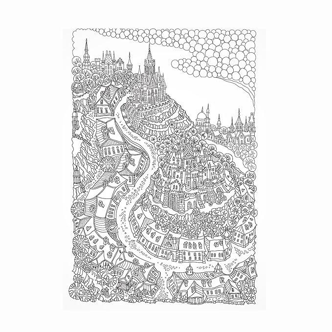 Märchen City – Detaillierte Erwachsene Färbung Poster – 900 mm x ...