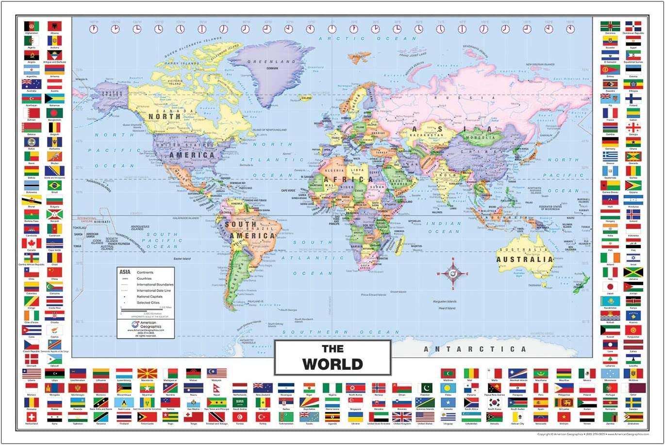 Map Of The World By Country.Amazon Com World Map With Country Flags For Kids 36 X 24