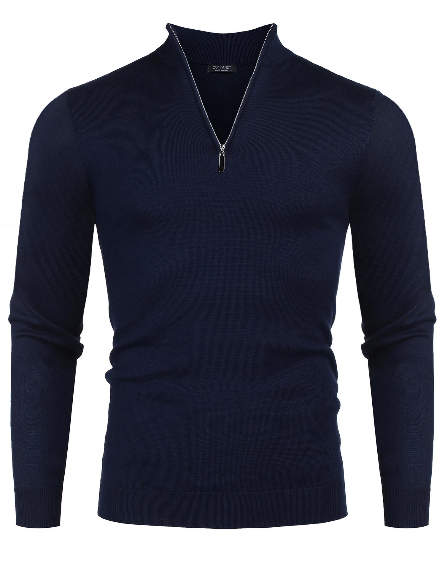 COOFANDY Men's Slim Fit Zip up Mock Neck Polo Sweater Casual Long Sleeve Pullover Sweaters with Ribbing Edge,Navy Blue,Small