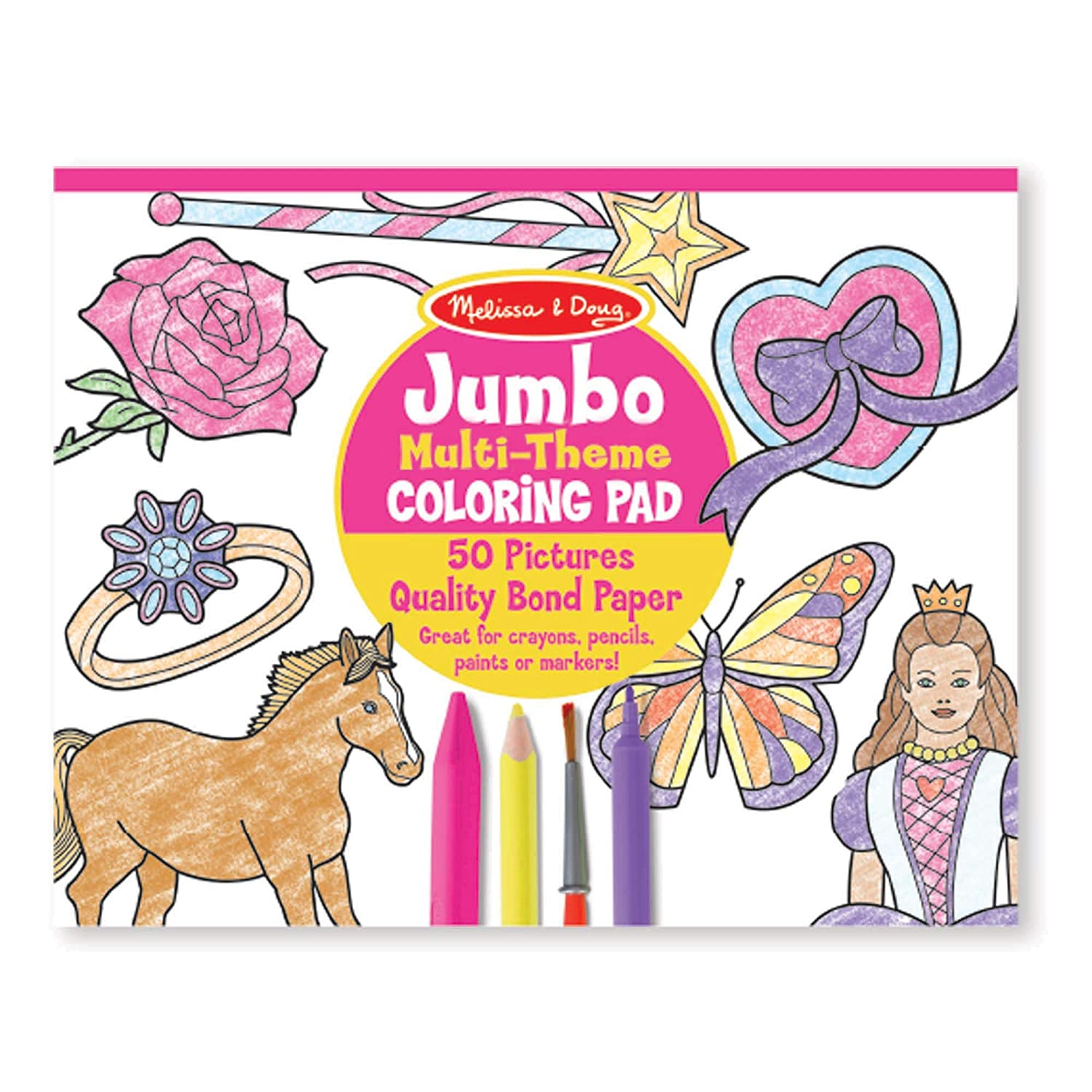 """Melissa & Doug Jumbo 50-Page Kids' Coloring Pad; Paper; 11"""" x 14"""" Oversized Sheets; Horses, Hearts, Flowers, and More; 14"""" H x 11"""" W x 0.4"""" L"""