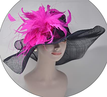 6532daa3427a4 Image Unavailable. Image not available for. Color: Navy Blue w Hot Pink  Kentucky Derby Hat ...