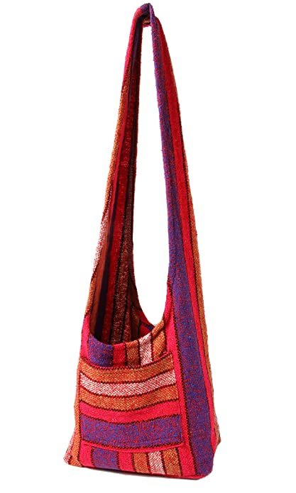 1886bd1d11 Hippie Bag Cross-Body Baja Sling Bag in Classic Baja Jacket Fabric. For Men  or Women. (Hot Pink and Tan)  Handbags  Amazon.com