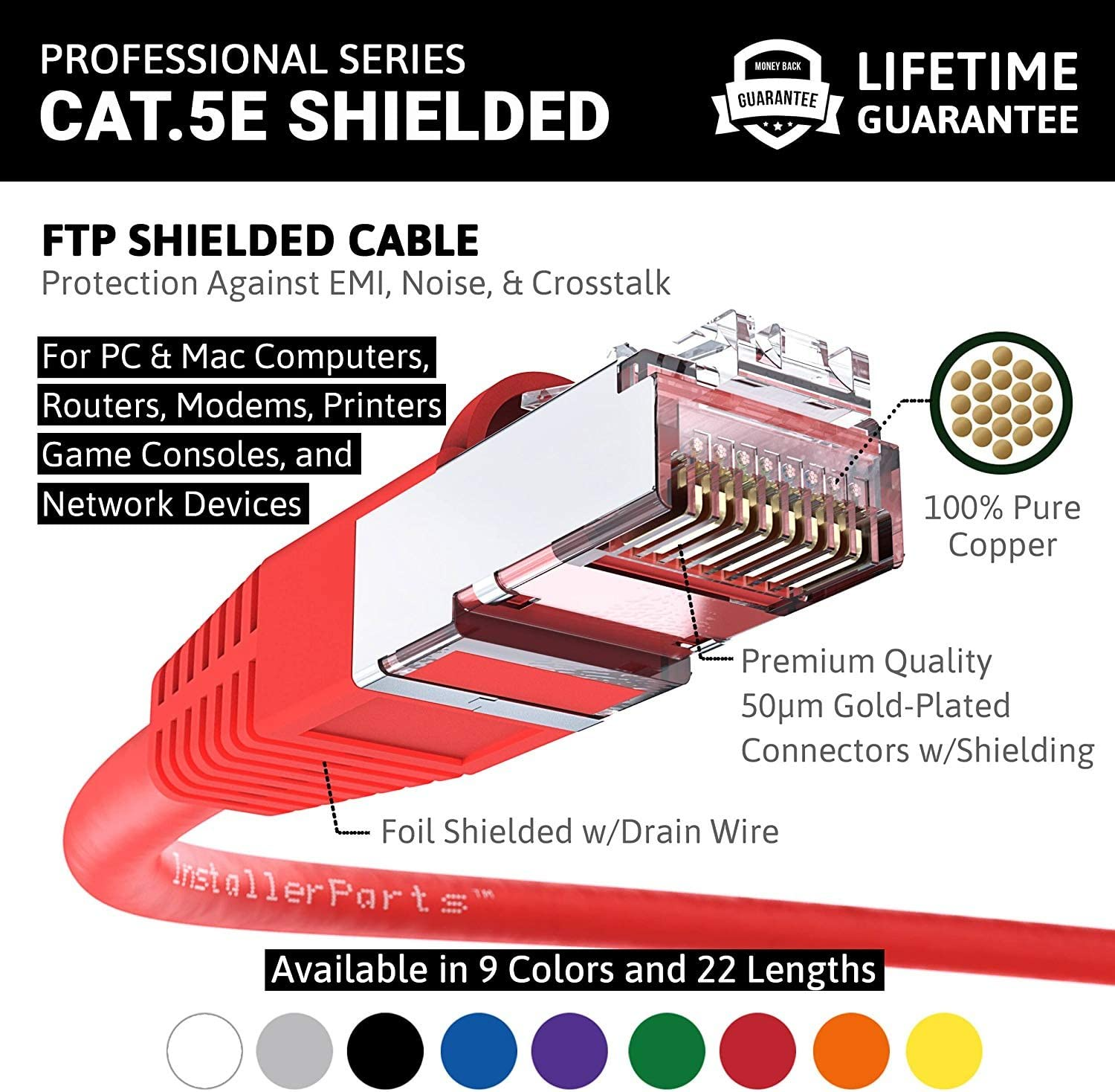 Booted 1 FT 1Gigabit//Sec Network//Internet Cable 100 Pack Red Ethernet Cable CAT5E Cable Shielded FTP 350MHZ InstallerParts Professional Series
