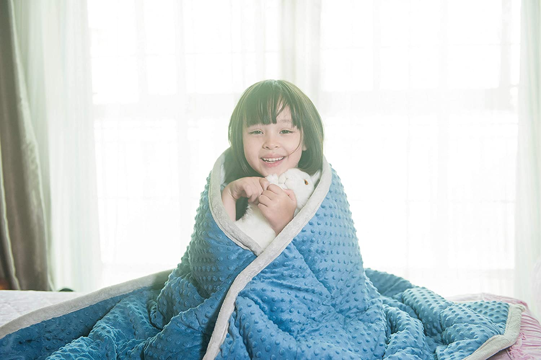 Daverose Beschwerte Decke Kinder 2.3 kg 92 * 122cm Gewichtete Decke für Kinder Gewicht Decke Blau&Hellgrau ZLT-BG92