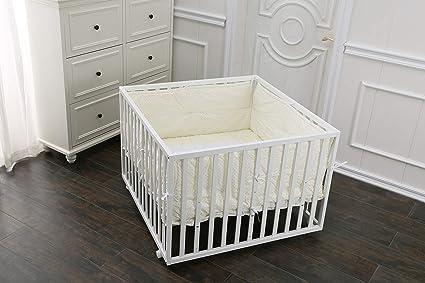 fixi Master Baby Parque Parque de 4 rectangular color blanco Incluye Colchón, bettwäche refuerzo Protector