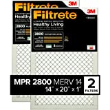 Filtrete 14x20x1, AC Furnace Air Filter, MPR 2800, Healthy Living Ultrafine Particle Reduction, 2-Pack