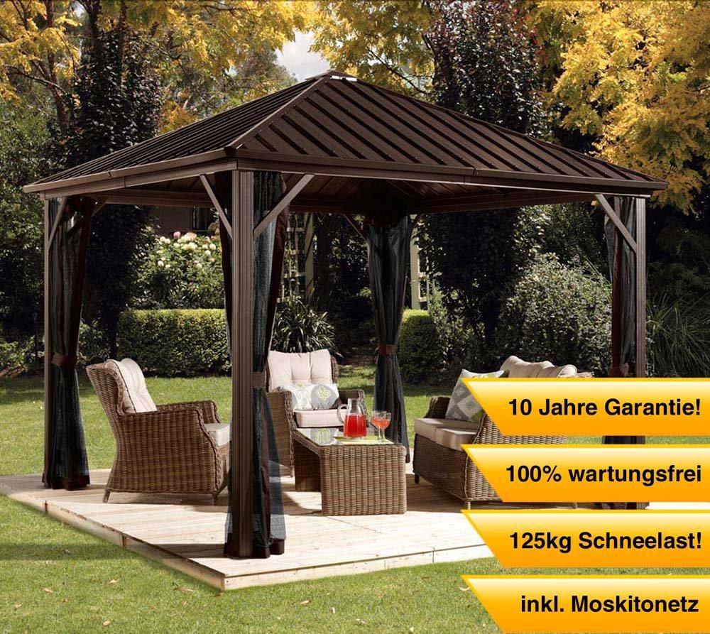 Aluminium Pavillon Überdachung Gazebo Dakota 10x10 // 300x300 cm (BxH) // Sommer-Pavillon und Gartenlaube mit Hard-Top Dach von Sojag