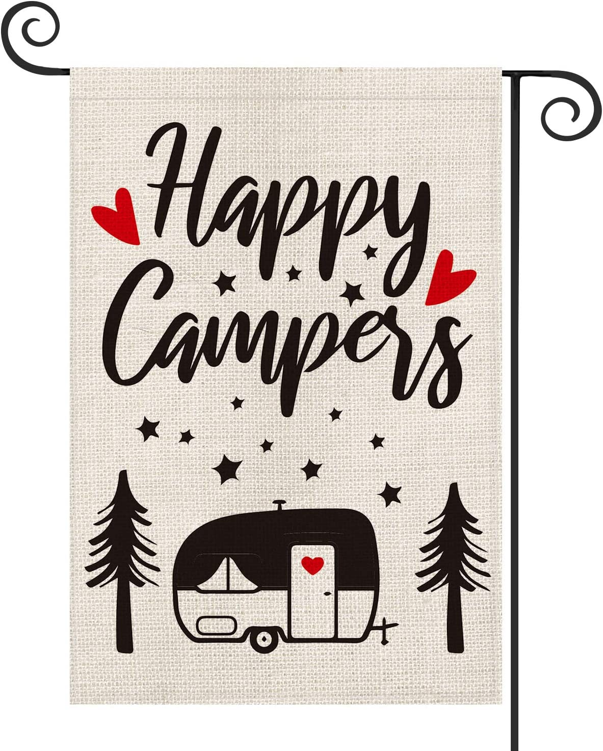 AVOIN Happy Campers Garden Flag Vertical Double Sided, Camping Trailer Tree Love Heart Flag Yard Outdoor Decoration 12.5 x 18 Inch