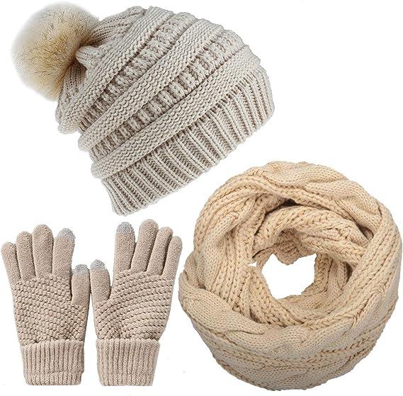 Yutdeng Hiver Tricot/é B/éret pour Femme Chapeau /Écharpe Gants /à /Écran Tactile Ensemble Chaud Cache-Cou de Doublure Polaire et Bonnet Tricot Chapeau