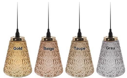 Lampe Leuchte Deckenleuchte Glas Taupe Grau Gold Braun 185 Cm E14 Wohnzimmer  (Gold)
