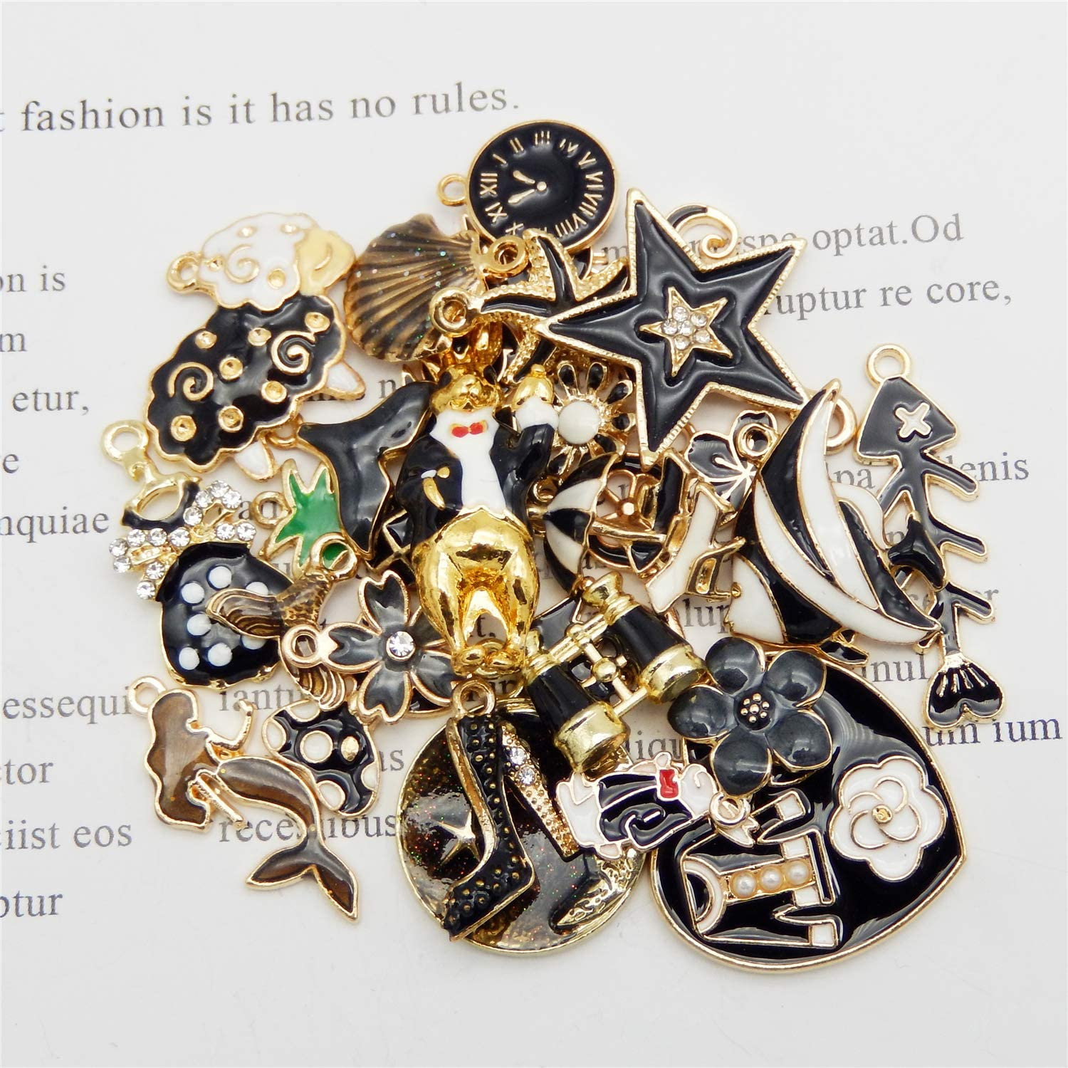 30pcs Mixed Enamel Black Theme Charms Pendants for Jewelry Making Bulk lot Necklace Earrings Bracelet Craft Findings