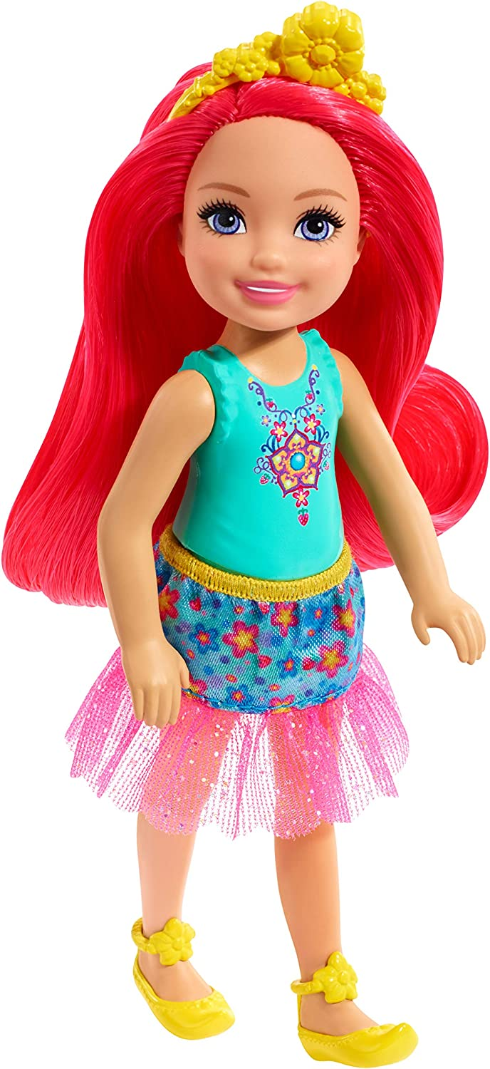 Barbie Dreamtopia Chelsea Sprite Doll, 7-inch, with Pink Hair Wearing Fashion and Accessories, Multi (GJJ97)