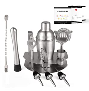 Home Cocktail Bar Set by Cresimo – Brushed Stainless Steel 12 Piece Professional Bar Tool Kit – 100% GUARANTEE AND WARRANTY. Includes Martini Shaker, Muddler, Strainer, Jigger and More!