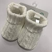 Playette Cable Knitted Bootie for 0-6 Months Baby, White