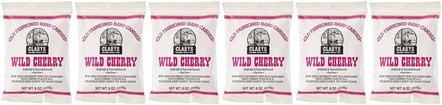 Claey's Old Fashioned Hard Candy Wild Cherry Pack of 6