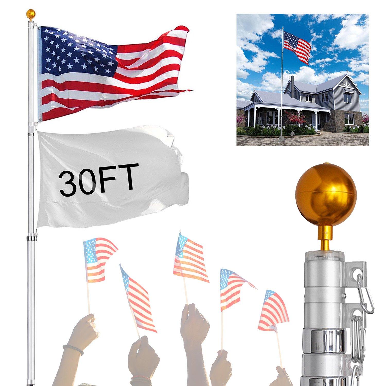Koval Inc. アルミ伸縮式 旗竿キット 米国旗付き。 30FT Telescopic Flag Pole B06XKSBNX4 12617 30FT Telescopic Flag Pole