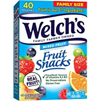 Fruit Snacks, Mixed Fruit, Gluten Free, Bulk Pack, 0.9 oz Individual Single Serve Bags (Pack of 40) .Three Pack