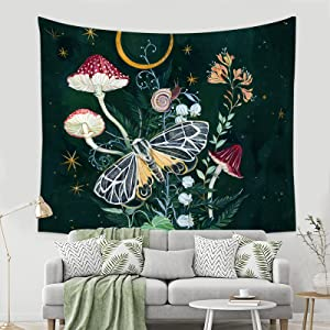 Mushroom Tapestry Moon and Florals Wall Hanging Tapestries Blanket Wall Art for Bedroom Living Room Home Decor Window Curtain Picnic Mat (59.1 x 59.1 Inch, Mushroom Night Moth)