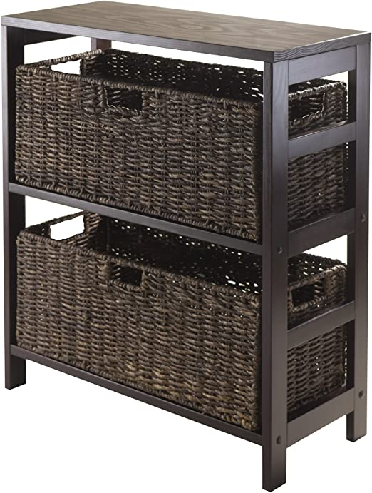 Winsome Granville 3 Piece Storage Shelf with 2 Foldable Baskets // Chocolate,