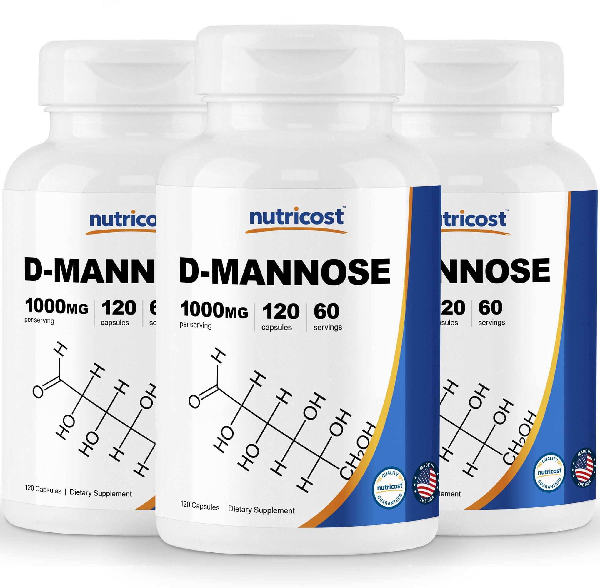 Nutricost D-Mannose 500 mg, 120 Caps (3 Bottles) - 1000mg Per Serving, Non-GMO and Gluten Free by Nutricost