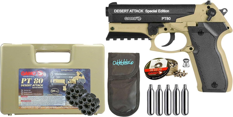 Outletdelocio. Pistola Perdigón Gamo PT-80 Desert Attack 4,5mm. + Funda portabombonas + balines + bombonas co2. 42289/23054/29318.