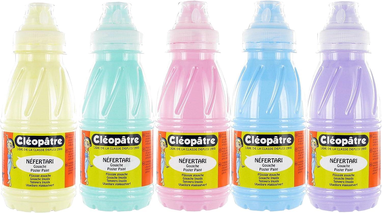 Cleopatre - PGN250x5P - Pack de 5 frascos de pintura guache, 250 ml, pastel: Amazon.es: Oficina y papelería