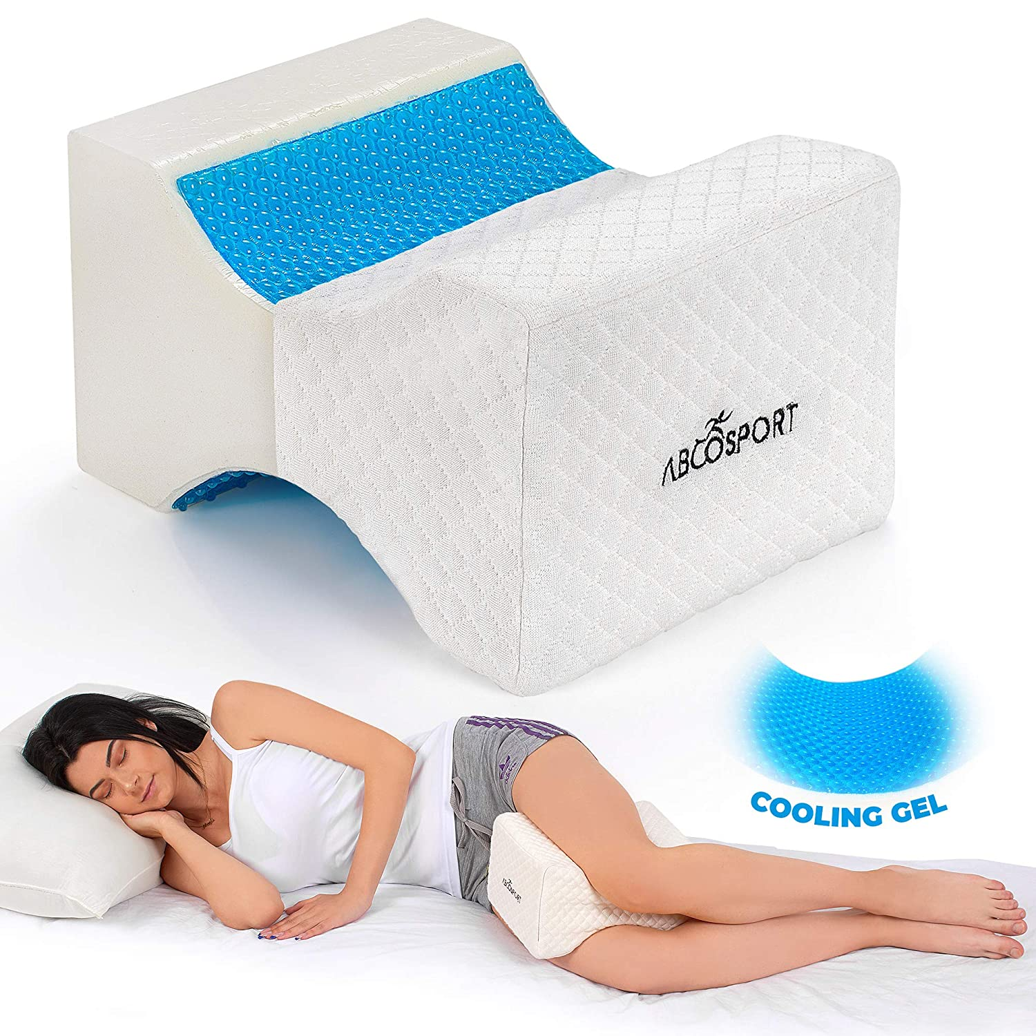 Memory Foam Knee Pillow with Cooling Gel – Leg Pillow Wedge for Side Sleepers, Pregnancy, Spine Alignment and Pain Relief – Breathable, Hypoallergenic and Comfortable – with Washable Cover