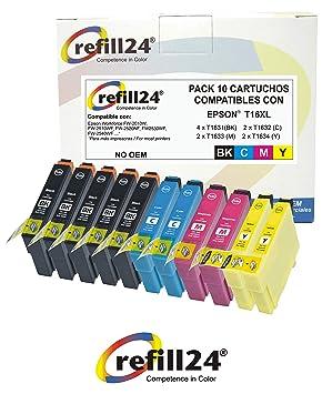 T16 Cartuchos de Tinta Compatible para Epson T16 / XL 10 X Epson Workforce WF-2630WF WF-2510WF WF-2630 WF-2510 WF-2530 WF-2650 WF-2750 WF-2760 WF-2010 ...