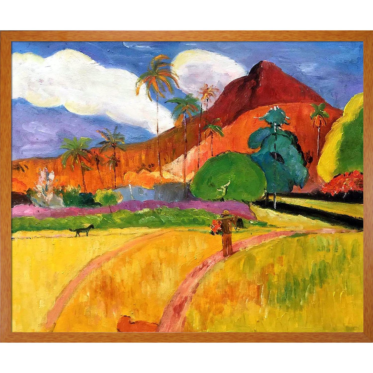 1893 by Gauguin with Studio Pecan Wood Frame overstockArt La Pastiche Tahitian Mountains