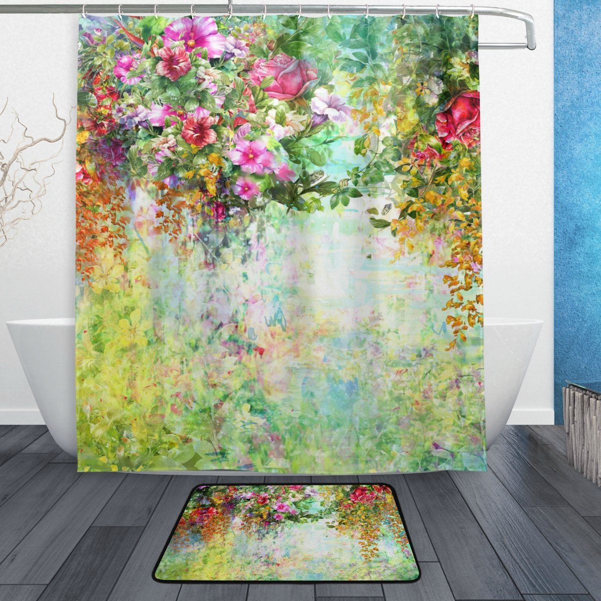 My Daily Watercolor Flower Spring Floral Shower Curtain 60 x 72 inch with Bath Mat Rug & Hooks, Mildew Resistant & Waterproof Polyester Decoration Bathroom Curtain Set durable service