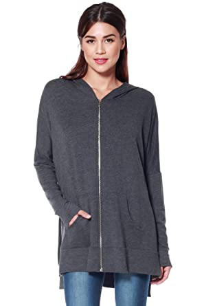 e442f245 A+D Womens Light Oversized Zip Hoodie Sweatshirt w Side Slits (Charcoal,  Small