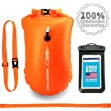 LimitlessXme Swim Buoy & Drybag - for Swimmers, Open Water and Triathlon. Pull Buoy for Adults and Kids. Orange Signal Swimming Bubble