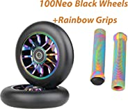 100mm Scooter Wheels - Pro Scooter Wheels 100mm Pair - Neo Oil Slick 100mm Metal Scooter Wheels Replacement - Pro Scooter Whe