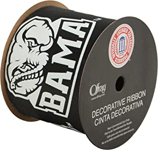 "product image for Offray University of Alabama Gift WRAP Ribbon-Alabama Crimson Tide Craft Ribbon-2 1/2"" Width, Black-NCAA Ribbon"
